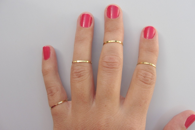 4 The Knuckle Rings Plain Band Knuckle Rings Gold Thin